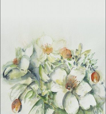 Rouwkaarten. een aquarel gebruikt die moeder zelf maakte