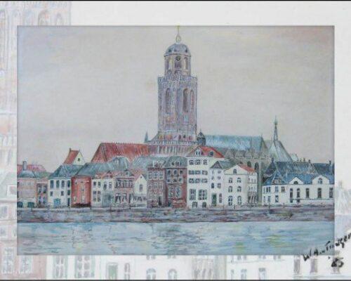Rouwkaarten. Zicht op Deventer, zelf getekend