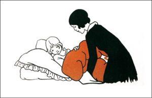 Crematie Gorssel. rouwkaart met op de voorkant een prent uit het boek dat moeder altijd voorlas
